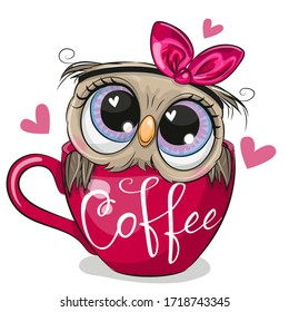Cute Cartoon owl with a bow is sitting in a Cup of coffee
