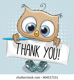 Cute cartoon owl Boy with plaque with inscription thank you
