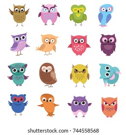 Cute cartoon owl characters vector set. Owl character bird, animal drawing comic and childish illustration