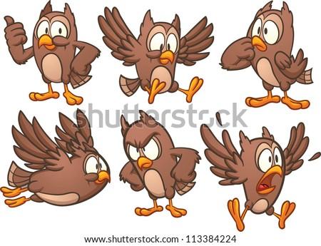 cute cartoon owl different poses vector stock vector