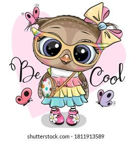 Cute Cartoon Owl in a dress on heart backround