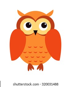 Cute cartoon owl in flat design for greeting card, invitation and logo