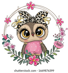 Cute Cartoon Owl with a floral wreath