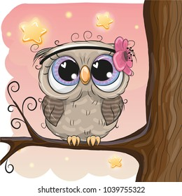 Cute Cartoon Owl with flower on a brunch
