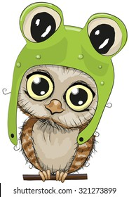 Cute cartoon owl in a frog hat on a white background