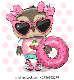 Cute Cartoon Owl girl with donut on the dots background