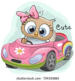 Cute Cartoon Owl Girl goes on a pink car