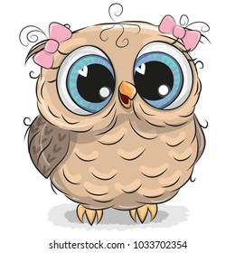Cute cartoon owl girl isolated on a white background