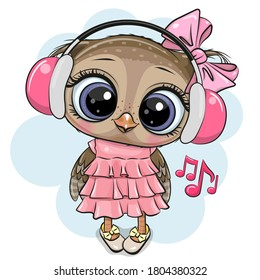Cute cartoon Owl girl with pink headphones on a white background
