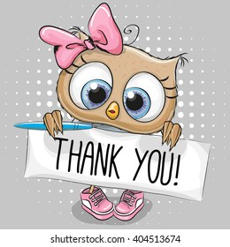 Cute cartoon owl Girl with plaque with inscription thanks