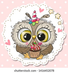 Cute Cartoon Owl with the horn of a unicorn and a cupcake on a pink background