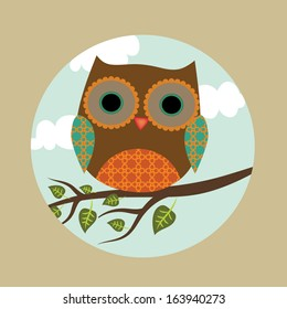 Cute cartoon owl on branch