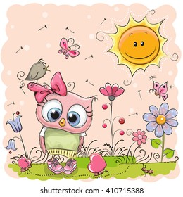 Cute Cartoon Owl on the meadow with flowers