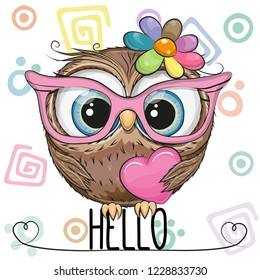Cute Cartoon Owl in a pink glasses with heart