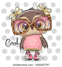 Cute Cartoon Owl in pink glasses on a dots background