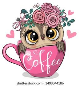 Cute Cartoon owl is sitting in a Cup of coffee