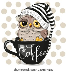 Cute Cartoon owl is sitting in a Cup of coffee