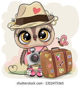 Cute Cartoon Owl tourist in a hat with luggage