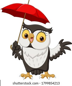 Cute cartoon owl with umbrella
