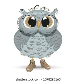 Cute cartoon Owl wise animal vector illustration. Drawing design child bird happy isolated cheerful greeting. Baby happiness character painting funny smiling nature decoration graphic childhood.