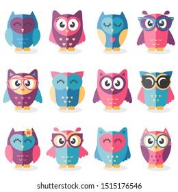 Cute cartoon owls in flat design