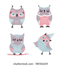 Cute cartoon owls vector set