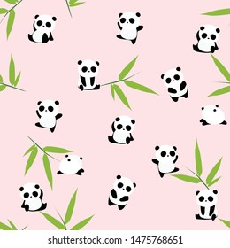 Cute cartoon panda bear seamless pattern, animals on pink background with bamboo leaf, for kids
