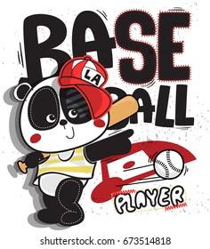 Cute cartoon panda boy baseball player wearing red cap and holding bat on grunge background illustration vector, t-shirt print design.