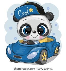 Cute Cartoon Panda boy in a cap goes on a Blue car