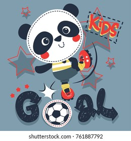 Cute cartoon panda boy kicking a soccer ball on isolated background illustration vector.