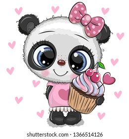 Cute Cartoon Panda with Cupcake on a hearts background