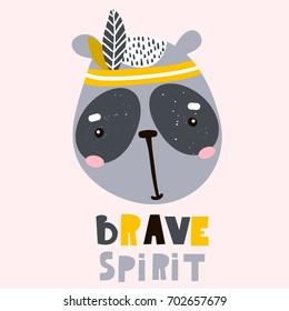Cute cartoon panda face. Childish print for nursery, kids apparel,poster, postcard. Vector Illustration