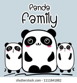 Cute Cartoon Panda Family Background. Vector Illustration.