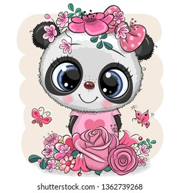 Cute Cartoon Panda with flowers on a white background