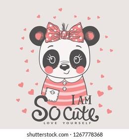 Cute cartoon panda girl face with bow. I am So Cute slogan. Love Yourself. Vector illustration design for t-shirt graphics, fashion prints, slogan tees