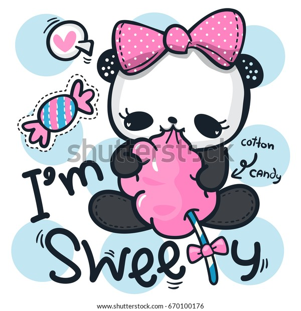 14cbcccb3f79dd Cute cartoon panda girl wearing a pink bow eating cotton candy on polka dot  background illustration