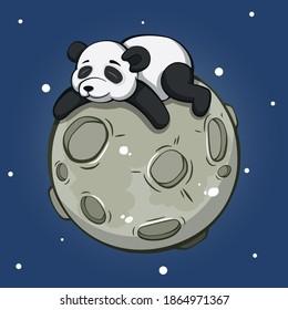 cute cartoon panda hugging the moon