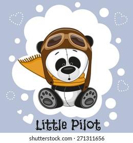 Cute cartoon Panda in a pilot hat