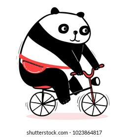 Cute cartoon panda rides a bicycle. Funny adorable fat bear with waist bag. Vector animal image for kids apparel, poster, postcard or sticker. Amusing illustration of asian mammal.