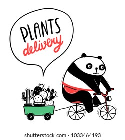 Cute cartoon panda rides a bicycle and carries cacti. Funny adorable fat bear with succulents. Vector animal image for kids apparel, poster, postcard or sticker. Amusing illustration of asian mammal.