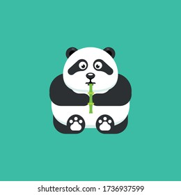 Cute Cartoon panda, Vector illustration little sitting panda holding bamboo his hand, isolated on a background. Drawing for children