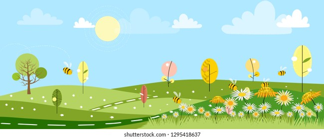 Cute cartoon panorama landscape of Spring field and spring flowers with family bee flying, Lovely card with sun shine, cloud and honey Bee collecting pollen on flowers in sunny day, Summer background