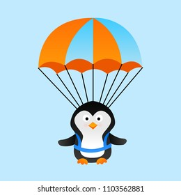 Cute cartoon parachute penguin