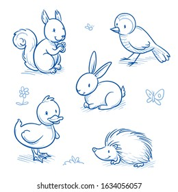 Cute cartoon park animals for children as squirrel, bird, duck, rabbit and hedgehog. Hand drawn doodle vector illustration.