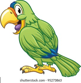 Cute cartoon parrot. Vector illustration with simple gradients. All in a single layer.