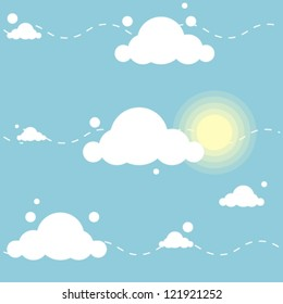 cute cartoon pattern with clouds and sun
