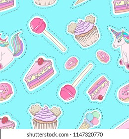 Cute cartoon pattern with hand drawn fantasy elements. Trendy fairytale style. Seamless print can be used as a pattern fill, in a design of books, paper, packaging, fabric, kids clothes etc.