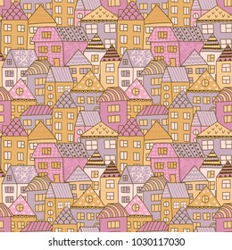 Cute cartoon pattern with tiny houses and trees. Hand drawn seamless ornament with hand drawn town.