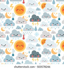 cute cartoon pattern with weather icons. can be used like pattern for textile, wrapping paper, greeting cards or posters