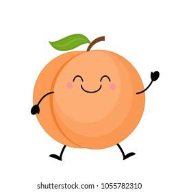 Cute  cartoon peach. Kawaii peach. Vector illustration isolated on white background.